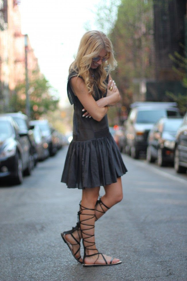 H&M conscious collection black dress, black gladiator sandals, blue coach bag // thestylesafari.com