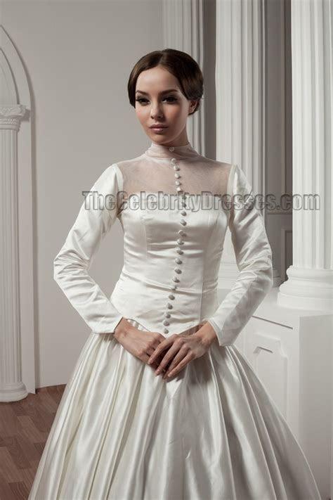 Classic Long Sleeve A Line Chapel Train Wedding Dresses