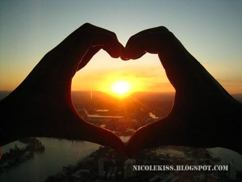 heart shape sunset