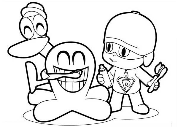 Pocoyo and Friends Laughing Hard Coloring Page