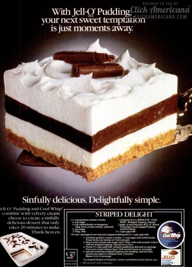 Striped Delight vintage dessert recipe (1985) - Click ...