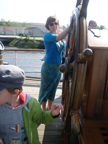 ahoy - aunty B at the wheel