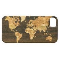Wooden World Map iPhone 5 Cases