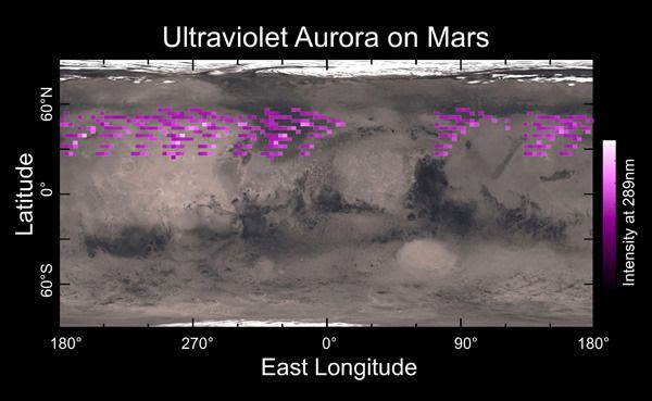 A map of auroral detections, made by MAVEN's IUVS instrument in December of 2014, overlaid on Mars' surface.
