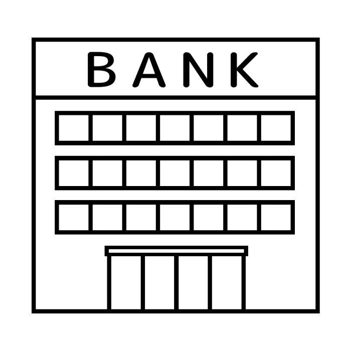 銀行白黒建物4乗り物建物無料イラスト素材