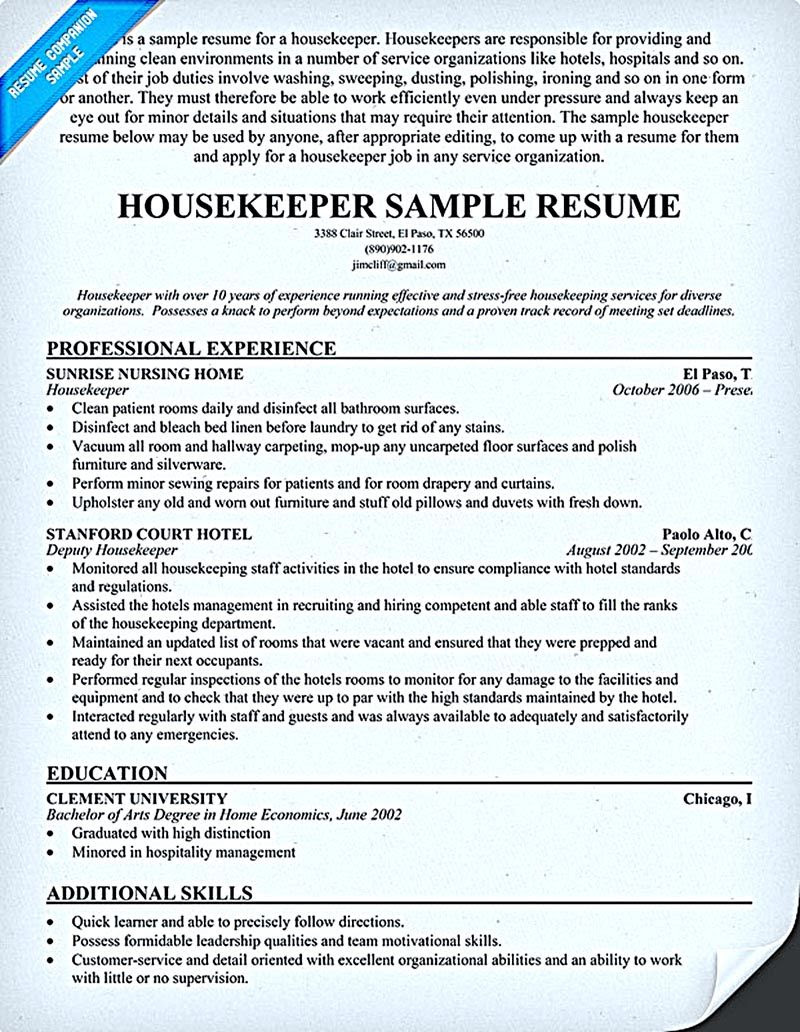 Housekeeper Resume Should Be Able To Contain And Highlight