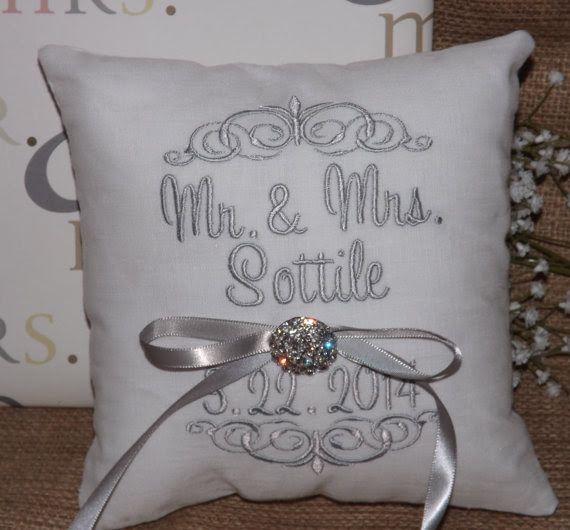 Personalized wedding ring cushions