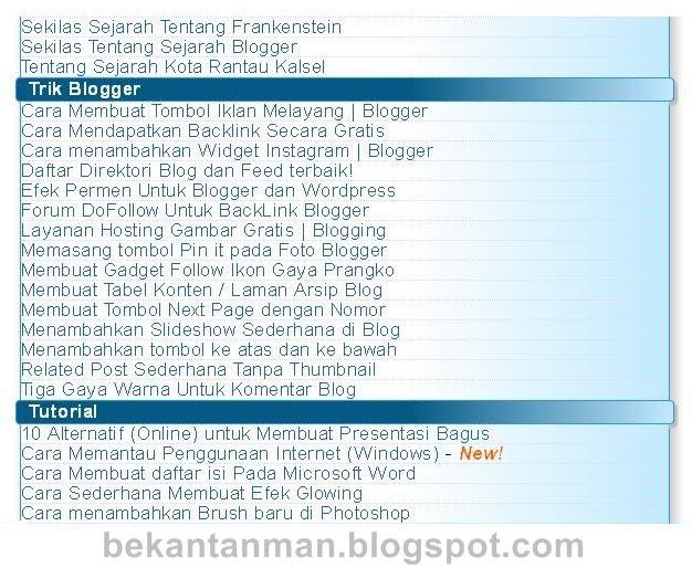 Screenshot Halaman Daftar isi pada Blogger