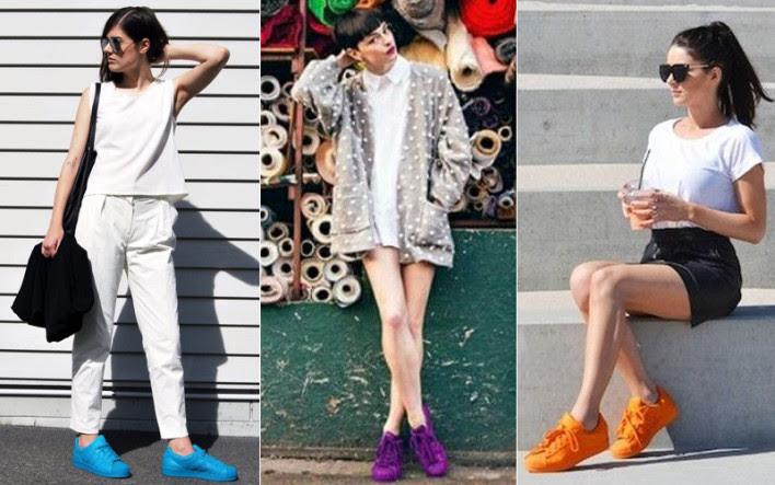Resultado de imagem para adidas superstar color look feminino