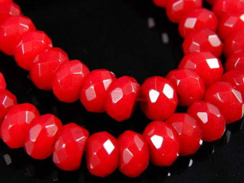 10 pc- Faceted RED Rondelle Jade Beads, 8x5mm