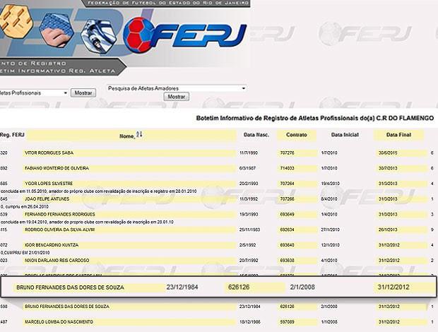 Bruno contrato Ferj lista 2 (Foto: Editoria de Arte / Globoesporte.com)