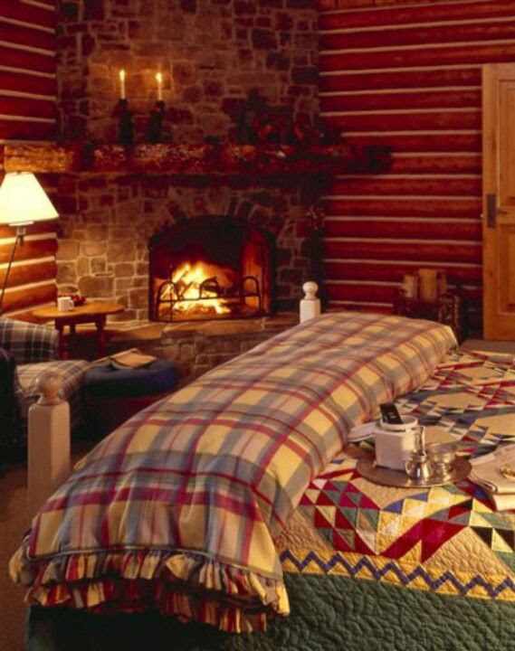 Cozy, country cabin bedroom... | Log cabins | Pinterest