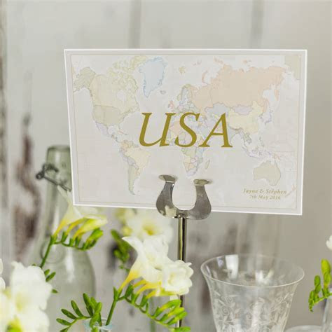classic world countries wedding table name cards by maps