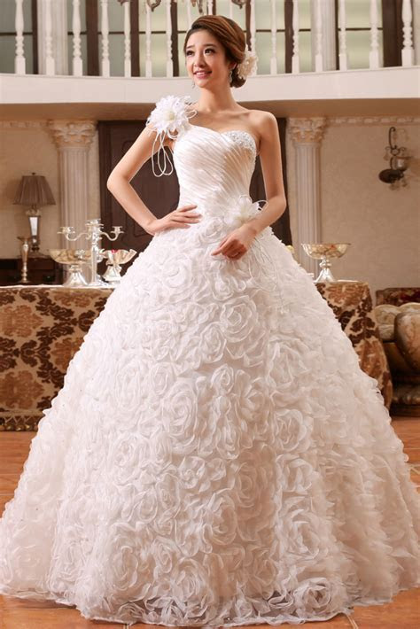 Flowery Single Shoulder Christian Wedding Gown