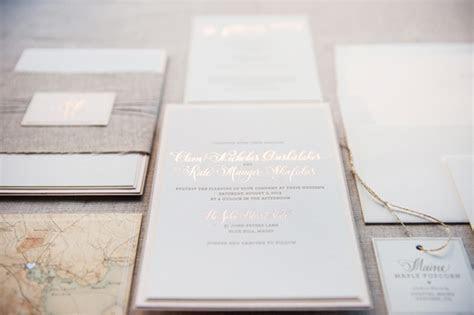 Kate   Cleon's Romantic Rose Gold Foil Wedding Invitations
