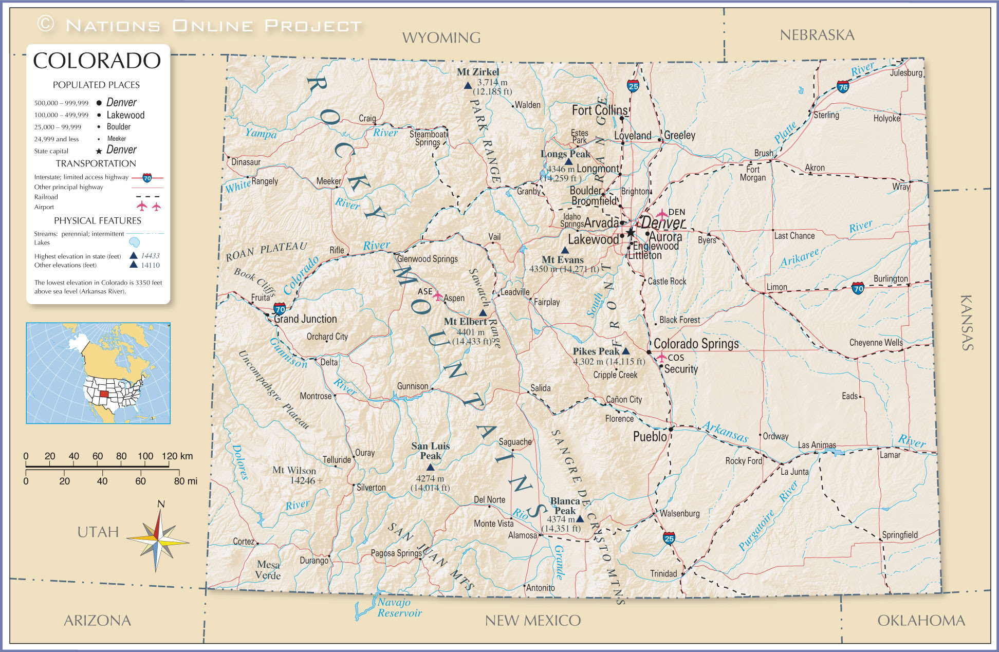Reference Maps Of Colorado Usa Nations Online Project