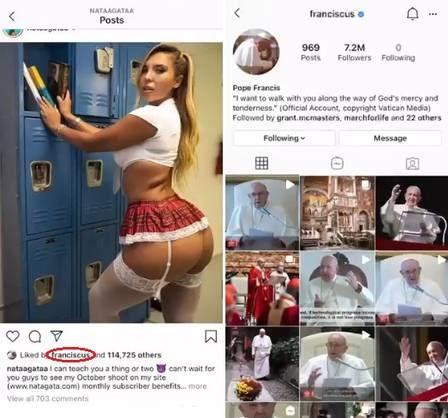 Conta do Papa Francisco no Instagram é investigada pelo Vaticano após curtir foto sexy de modelo brasileira
