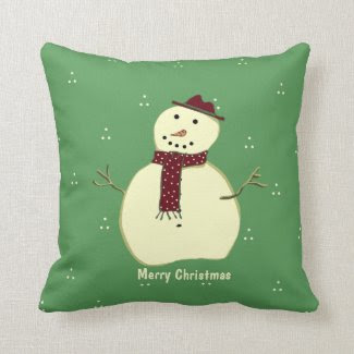 Green and White Snowman Pillow