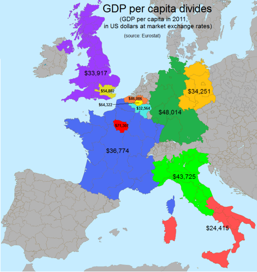 Some West European countries regional resentments explained by GDP per capita.