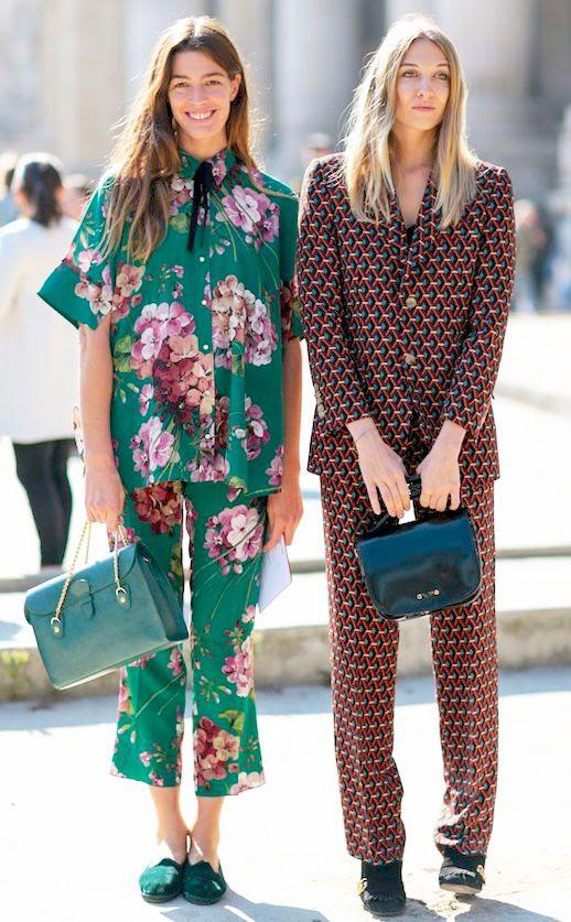 Le Fashion Blog Street Style Trends Pajama Matching Set Floral Print Teal Shoulder Bag Black Tote Bag Flats Via E!