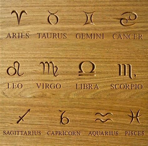Carved Symbols & Zodiac Star Signs