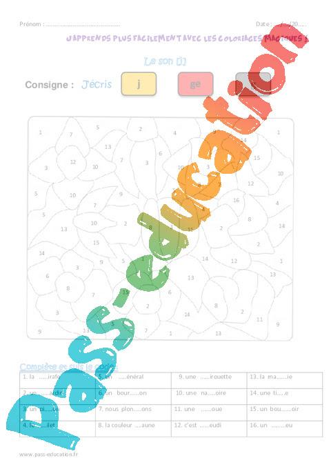 Son J Ce1 Coloriage Magique Pass Education