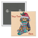 cute brown puppy with Christmas stocking holiday 2 Inch Square Button