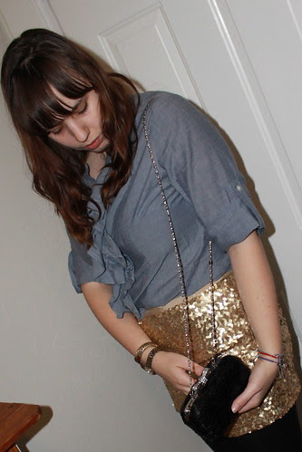 New Year's Eve outfit: gold sequin skirt, chambray shirt, wool tights, leopard brocade coat