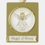 Golden Filigree Pattern Christmas Angel of Grace Gold Plated Banner Ornament