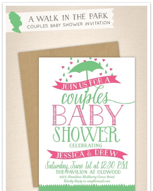 Empress Stationery: A Walk In The Park Couples Baby Shower Invitation
