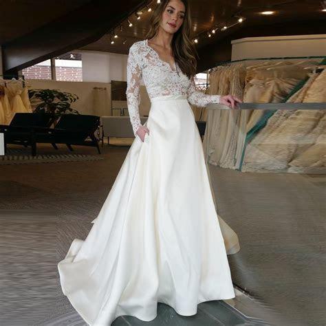 A Line V Neck Long Sleeves Sweep Train Satin Wedding Dress