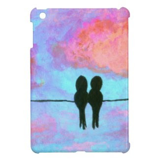 Two Black Birds On A Wire Abstract Art Painting iPad Mini Cover