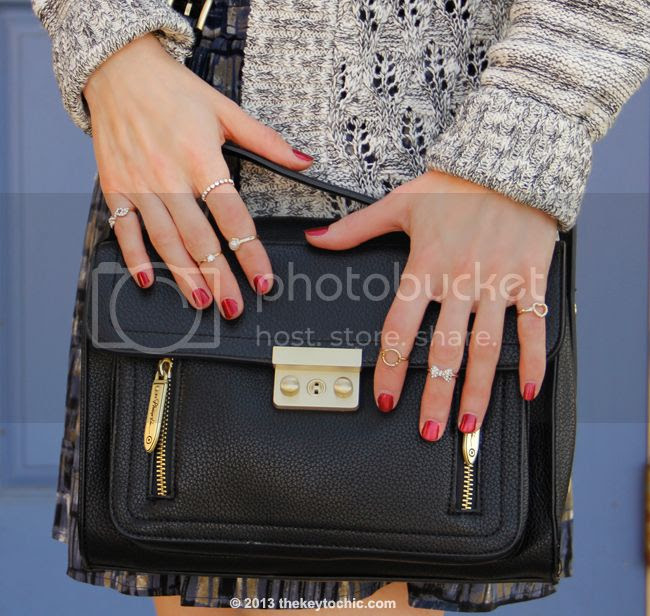 Charlotte Russe midi rings and Phillip Lim for Target black top handle satchel