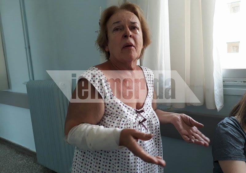 Με δάκρυα στα μάτια η κ.Παναγοπούλου έλεγε  «Κάηκα στα πόδια, προσπάθησα να τρέξω»