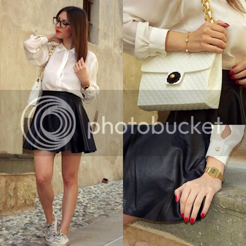 Black Leather Skater Skirt Casio Mini Gold Vintage Watch Baci Milano White Silicone Bag