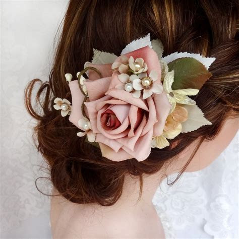 bridal hair clip, dusty pink flower hair accessory
