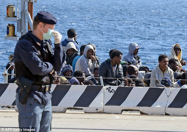 Desperate: Nigerian Muslims on a dinghy carrying around 100 African refugees across the Mediterranean became angry when one Christian passenger began praying for his life (refugees in Sicily pictured)
