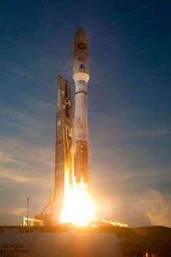The Atlas V rocket carrying the X-37B Orbital Test Vehicle (OTV) is launched from Cape Canaveral Air Force Station in Florida, on April 22, 2010.