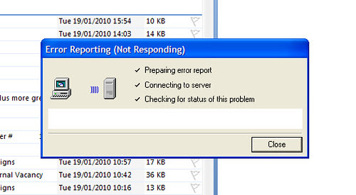 There has been an error reporting your error