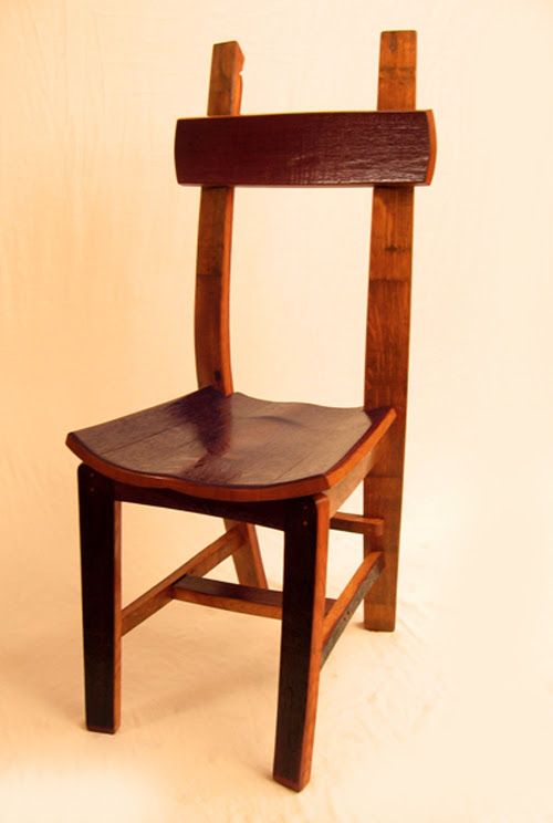 The Green Chair Made From Recycled Oak Wine Barrel Staves