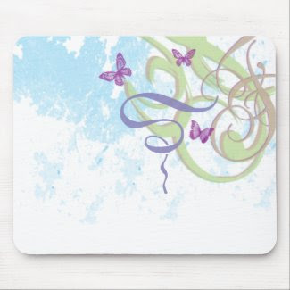 Spring Fantasy - Swirls & Butterflies - Mousepad mousepad