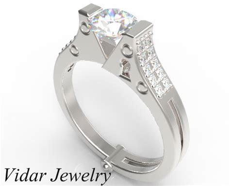 Diamond Handcuff Engagement Ring   Unique Pave Setting