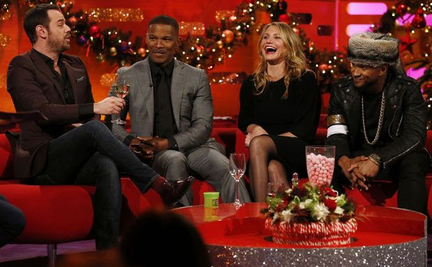 Left to right) Danny Dyer, Jamie Foxx, Cameron Diaz and Usher during filming of the Graham Norton Show at the London Studios, in London. Picture date: Tuesday December 16, 2014. Photo credit should read: Jonathan Brady/PA Wire