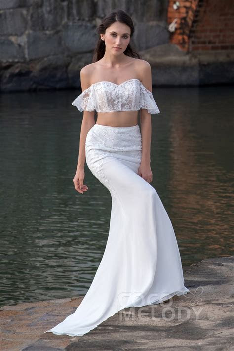 Crop top Train Tulle and Chiffon Wedding Dress LD5363