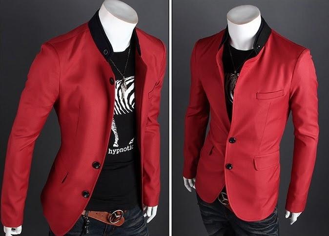 Blazer Casual Moderno con Detalle en el Cuello - Rojo
