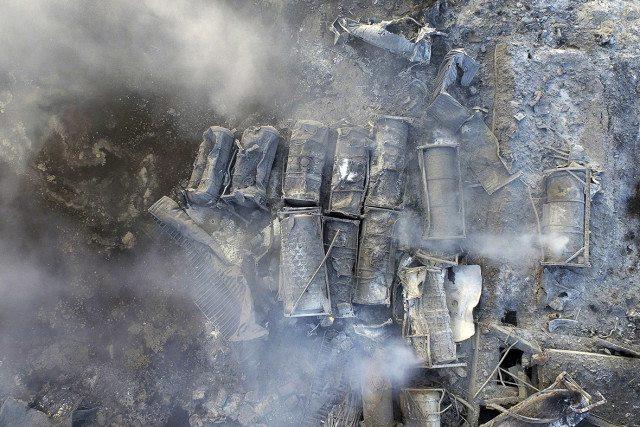 Cendres causées par l'explosion thermique tout près de Ground Zero.