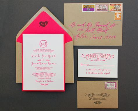 DIY Tutorial: Neon   Kraft Paper Wedding Invitations