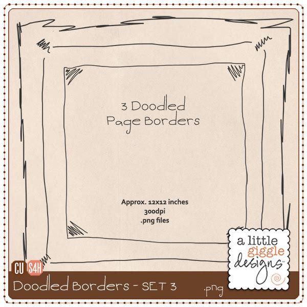 Doodled Page Borders Freebie - Set 3