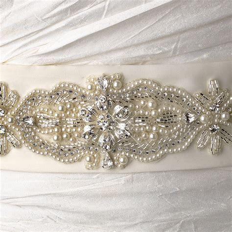 Bead Pearl & Rhinestone Accented Bridal Belt Sash