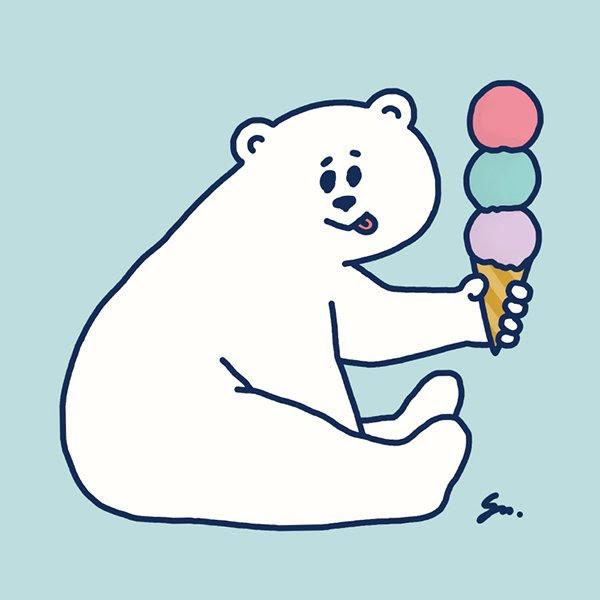 シロクマイラストステッカー アイスクリーム Masuda Saeko Web Shop